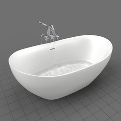 Modern bathtub filling with water