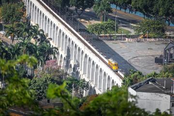 Aerial view of Arcos da Lapa Arches and Santa Teresa Tram - Rio de Janeiro, Brazil