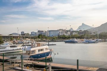 Marina da Gloria Boats and Corcovado Mountain on background - Rio de Janeiro, Brazil