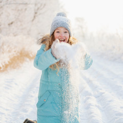 Child walking at winter park