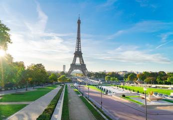 Eiffel Tower famous landmark from Trocadero at sunrise, Paris, France