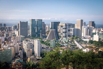 Aerial view of downtown Rio de Janeiro skyline and Metropolitan Cathedral - Rio de Janeiro, Brazil