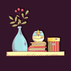 Interor book shelf colorful vector illustration
