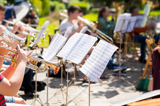 orchestra classical music concert outdoors in  park