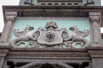 The coat of arms of Fiscal Island (Ilha Fiscal) Palace in Guanabara Bay - Rio de Janeiro, Brazil