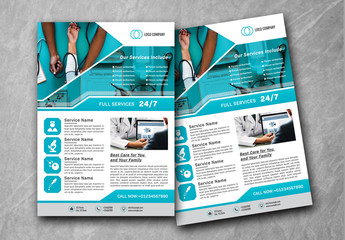 Business Flyer Layout with Medical Icons