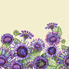 Beautiful purple African daizy flowers with exotic leaves on light yellow background. Seamless floral pattern. Hand painted watecolor illustration.