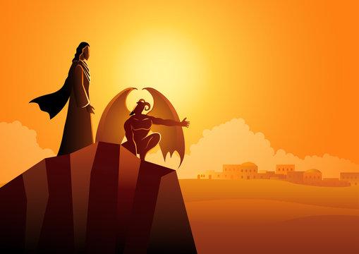 Satan tempts Jesus in the wilderness