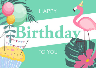 Birthday Card with Flamingo, Balloons and Palm Leaves, Congratulation Template Vector Illustration