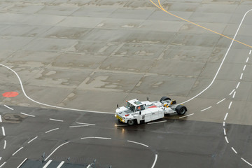 Airplane Tugs, Machine for push back aircraft to taxiway in ground handling services at the airfield