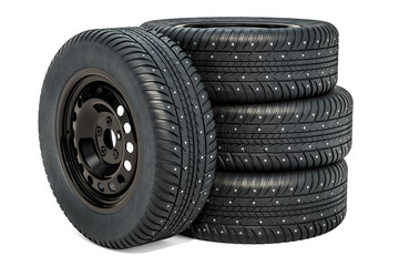 Car wheels with winter tires. 3D rendering