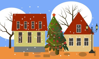 Winter Christmas city with trees and houses and street lamps and New year tree.