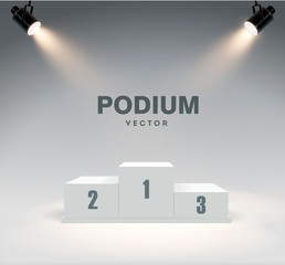 Round podium illuminated by searchlights. Stock vector illustration. - fototapety na wymiar