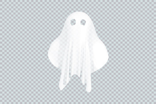 Ghost of Halloween party in white sheet on transparent background. Vector illustration