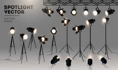 Foto op Aluminium Licht, schaduw Spotlights realistic transparent background for show contest or interview vector illustration