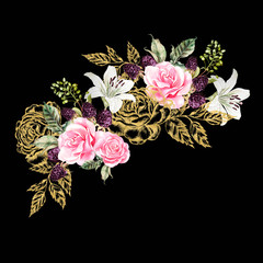 Wreath with gold graphic and watercolor flowers. Rose, lily and berries.