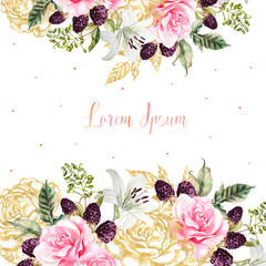 Wedding cards with golden graphic and watercolor flowers. Rose, lily and berries.