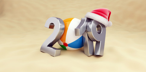 2019 new year on the beach 3D illustration, 3D rendering