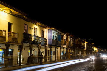 Night view from Plaza de Armas in Cuzco.