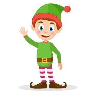 Santa's helper elf waves his hand and smiles an a white.