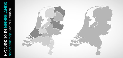 Vector map of Netherlands province gray monohromatic