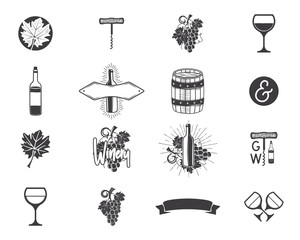 Wine production icons set. Winery, wine shop, vineyards badges collection. Retro Drink symbols. Monochrome design illustrations. Stock emblems and pictograms isolated on white background