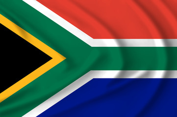 Flag of South Africa waving from the wind, proudly fluttering in the wind