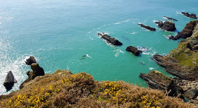 Beautiful exotic view at South Stack Lighthouse clifs, Holyhead. Wales