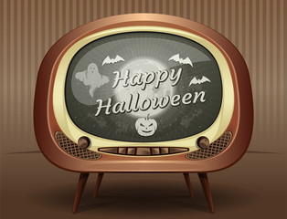 Halloween greeting card in retro style. Congratulations with Halloween on the screen of an old vintage TV. Vector illustration