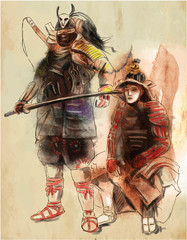 Samurais. An hand drawn illustration. Freehand drawing, painting. Vector