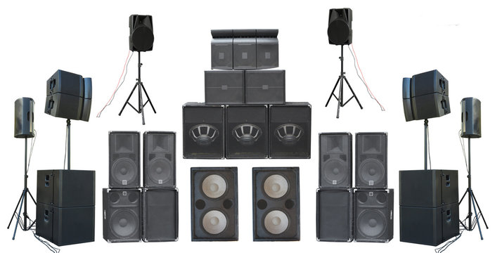 Set of powerful old industrial stereo speakers isolated on white background.