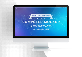 Desktop Computer Isolated on White Mockup