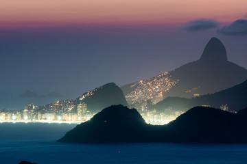 View of Copacabana Beach Lights at Night and Mountains of Rio de Janeiro