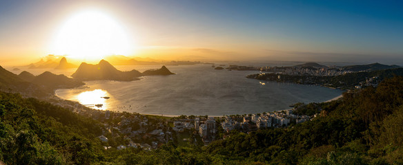 Panoramic View of Guanabara Bay With Sunset Above Rio de Janeiro Mountains