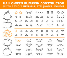 Halloween Pumpkin simple line icons vector set