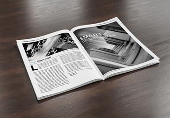 Open Magazine on Wooden Surface Mockup