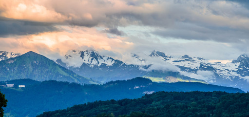 Wall Mural - Aerial view of Alps mountains near Lucern at sunset, Switzerland