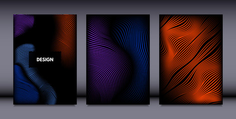 Movement. Abstract Backgrounds. Trendy Wave Lines with Gradient n Futuristic Style. Volume Effect. Distortion of 3d Shapes. Cover Templates Set with Movement for Presentation, Poster, Brochure. EPS.