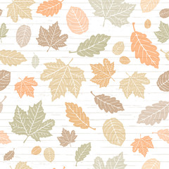 Seamless Vector Pastel Colored Autumn Falling Leaves on Shiplap Wood Plank Background