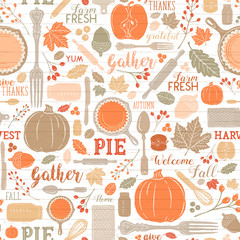 Seamless Vector Shiplap Autumn Leaves & Pumpkin Apple Pie Baking Pattern in Warm Bright Fall Colors
