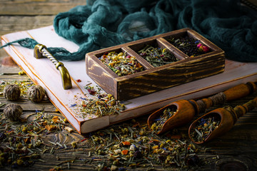 Tea leaves on old background