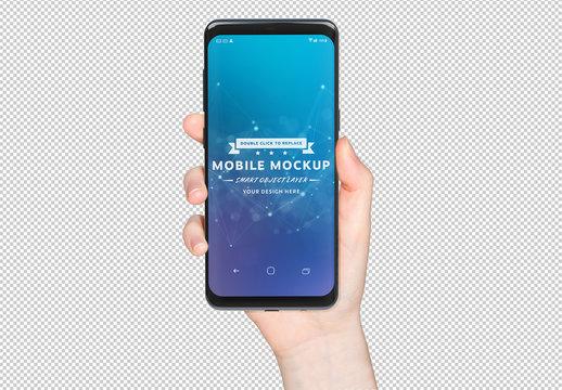 Isolated Hand Holding Smartphone Mockup