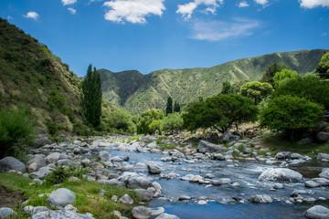 rio al borde de las montañas verdes
