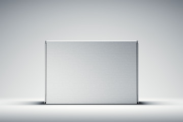 Isolated white cardboard box on white background. 3d rendering.