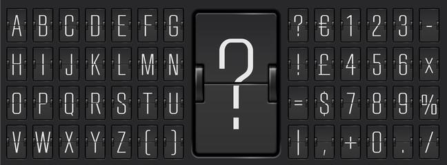 Black terminal scoreboard narrow font  to display destination and timetable vector illustration