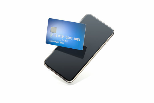 Bank credit card on mobile phone screen on white background. 3d rendering.