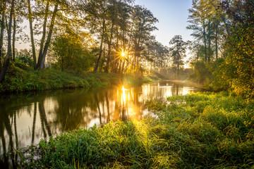 Fototapeta Rzeka Rawka, Jesienny świt nad rzeką obraz