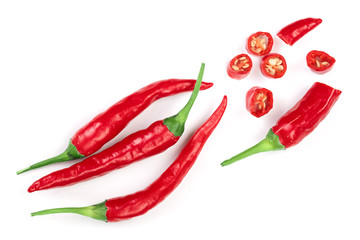Canvas Prints Hot chili peppers sliced red hot chili pepper isolated on white background. Top view. Flat lay pattern