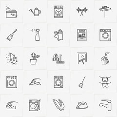 Cleaning line icon set with clothes hanging rope , vacuum cleaner  and sponge