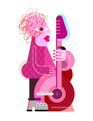 Canvas Prints Abstract Art Woman Playing the Guitar